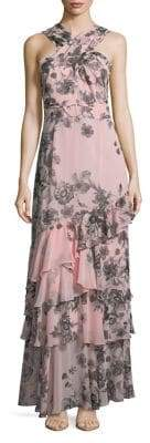 Eliza J Halter Floral-Print Tiered Gown