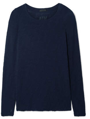 ATM Anthony Thomas Melillo Distressed Slub Cotton-jersey Top - Midnight blue