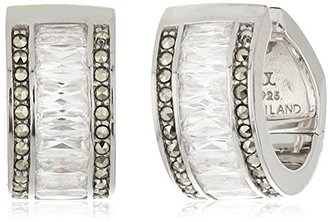 "Judith Jack ""Earristable Wonders"" Sterling Silver Baguette Huggie Hoop Earrings $74.67 thestylecure.com"