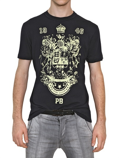 Balmain Printed Washed Cotton Jersey T-Shirt