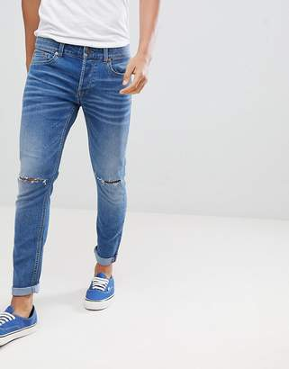 ONLY & SONS Skinny Jeans In Washed Denim With Knee Rip