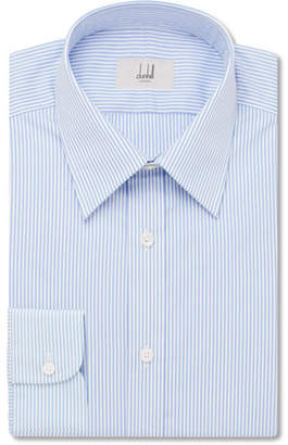 Dunhill Blue Slim-Fit Striped Cotton-Poplin Shirt