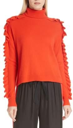 Cinq à Sept Savanna Ruffle Sleeve Cashmere Sweater