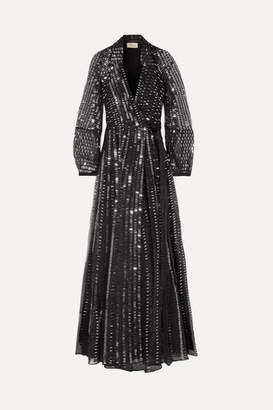 Temperley London Jet Sequined Silk Wrap Dress - Black