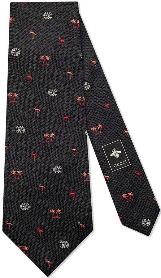 Flamingos wide silk tie