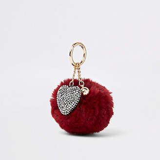 River Island Dark red faux fur pom pom heart charm keyring