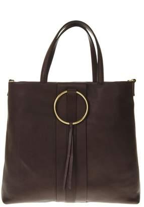 Gianni Chiarini Brown Leather Tote Bag With Metal Ring