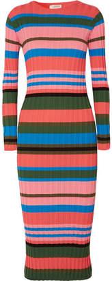 Stine Goya Jeanne Striped Ribbed-knit Midi Dress - Pink
