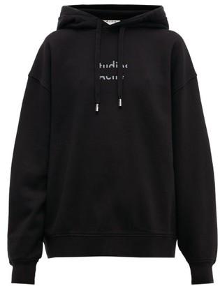 Acne Studios Fyola Broken Logo Cotton Hooded Sweatshirt - Womens - Black