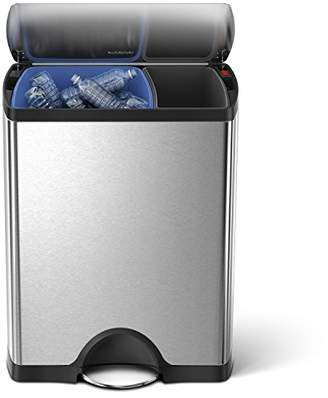 Simplehuman 46 Liter / 12.2 Gallon Stainless Steel Rectangular Kitchen Dual Compartment Step Trash Can Recycler