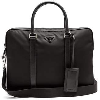 Prada - Leather Trimmed Nylon Briefcase - Mens - Black