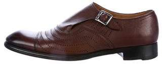 Sergio Rossi Leather Perforated Monk Strap Shoes