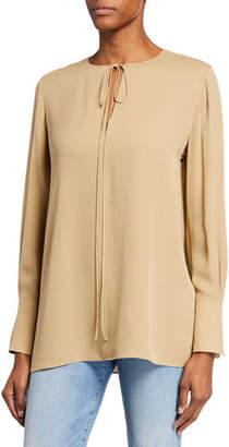 Theory Fluid Split-Neck Long-Sleeve Silk Georgette Tunic