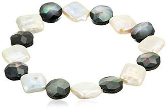 Mother of Pearl and Cultured Freshwater Pearl Stretch Bracelet