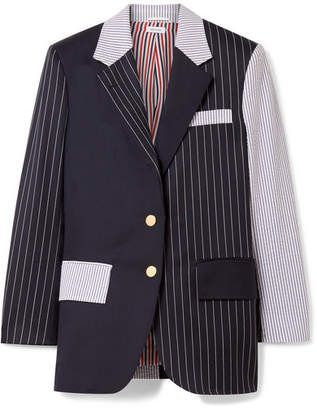 Thom Browne Patchwork Striped Wool-blend Seersucker And Twill Blazer - Midnight blue