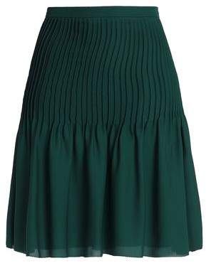 Oscar de la Renta Pintucked Silk Crepe De Chine Skirt