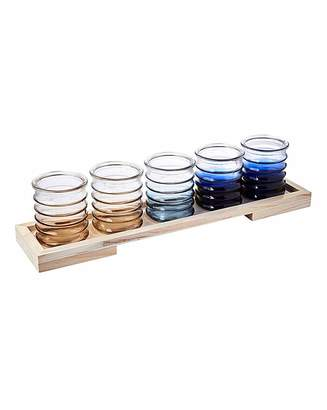 Fashion World Set of 5 Tea Light Holders and Tray