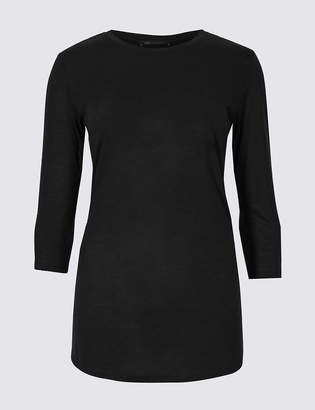 M&S CollectionMarks and Spencer Round Neck 3/4 Sleeve Longline T-Shirt