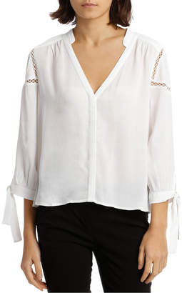 Miss Shop Tie Sleeve Lace Insert Shirt - White
