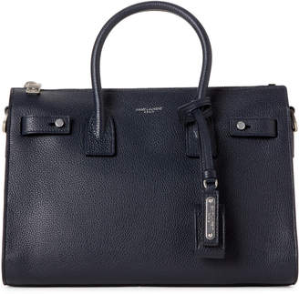 Saint Laurent Deep Marine Baby Sac De Jour Leather Tote