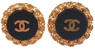 24K Gold Plated & CC Black Resin Clip on Earrings