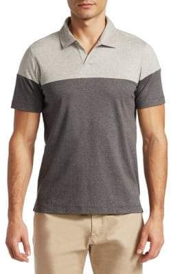 Saks Fifth Avenue MODERN Aqua Cotton Colorblocked Shirt
