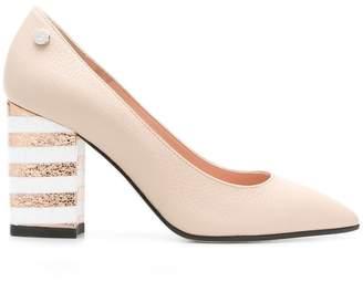 Pollini striped block heel pumps