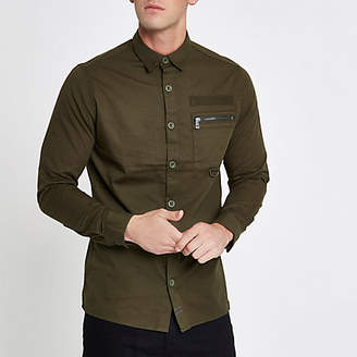 River Island Only and Sons khaki green pocket shirt