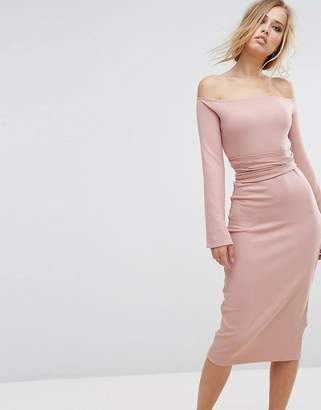 Lost Ink Midi Dress With Split Sleeves $57 thestylecure.com