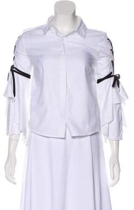 Jonathan Simkhai Bell Sleeve Lace-Up Top