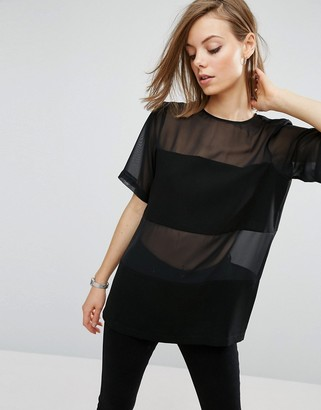Asos Woven T-Shirt In Sheer & Solid