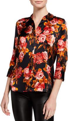 L'Agence Dani 3/4-Sleeve Rose-Print Blouse