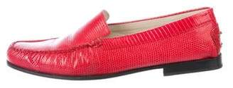 Tod's Lizard Square-Toe Loafers