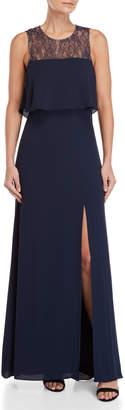BCBGMAXAZRIA Lace Bodice Popover Gown