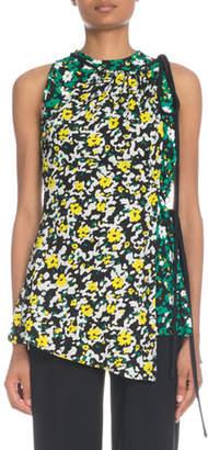 Proenza Schouler Sleeveless Asymmetric Wildflower-Print Viscose Top