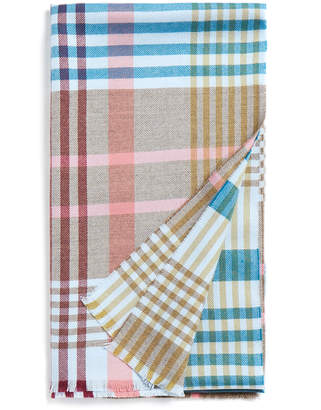Johnstons of Elgin Brown and Pastel Flannel Check Extra Fine Merino Wool Scarf