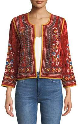 Velvet Nita Embroidered Cropped Jacket