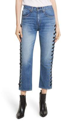Veronica Beard Ines Lace-Up Crop Girlfriend Jeans