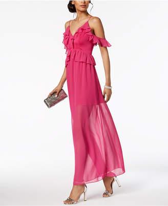 BCBGeneration Ruffled Cold-Shoulder Maxi Dress