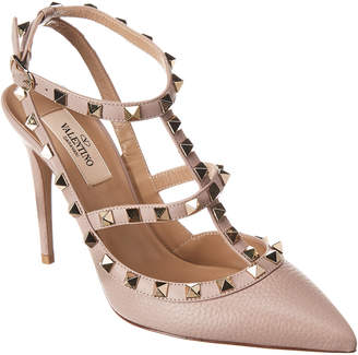 Valentino Rockstud Cage 100 Leather Ankle Strap Pump