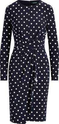 Ralph Lauren Dot Shirred Jersey Dress
