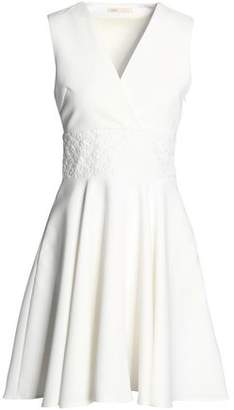Maje Embroidered Crepe Mini Dress