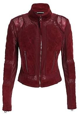 Blanc Noir Women's Suede& Mesh Moto Jacket