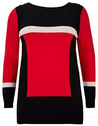 Evans Red Colour Block Jumper