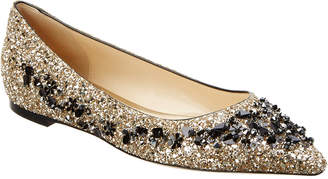 Jimmy Choo Romy Sequin-Embroidered Flat