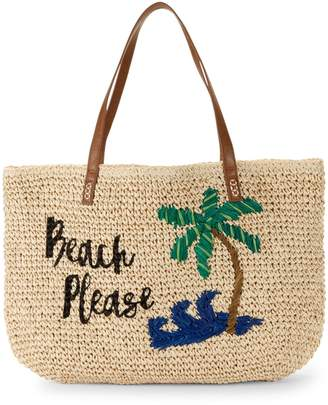 Saks Fifth Avenue Marabelle Embroidered Paper Straw Beach Please Graphic Tote