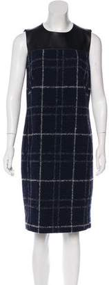 Akris Punto Leather-Trimmed Wool Dress