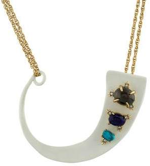Alexis Bittar Multi-Stone Matte White Arced Pendant Necklace