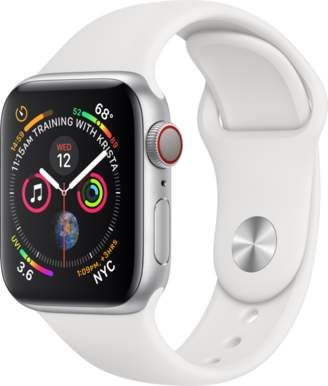 Apple AppleWatch Series4 GPS+Cellular, 40mm Silver Aluminum Case with White Sport Band