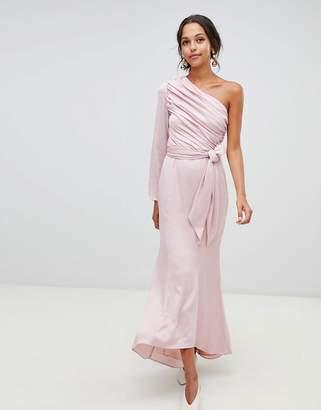 Keepsake Hold Back long sleeve one shoulder maxi dress